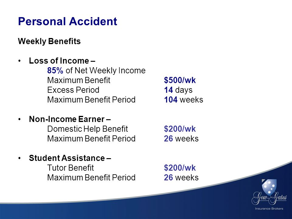 Weekly Benefits Loss of Income – 85% of Net Weekly Income Maximum Benefit $500/wk Excess Period 14 days Maximum Benefit Period 104 weeks Non-Income Earner – Domestic Help Benefit $200/wk Maximum Benefit Period 26 weeks Student Assistance – Tutor Benefit $200/wk Maximum Benefit Period 26 weeks Personal Accident