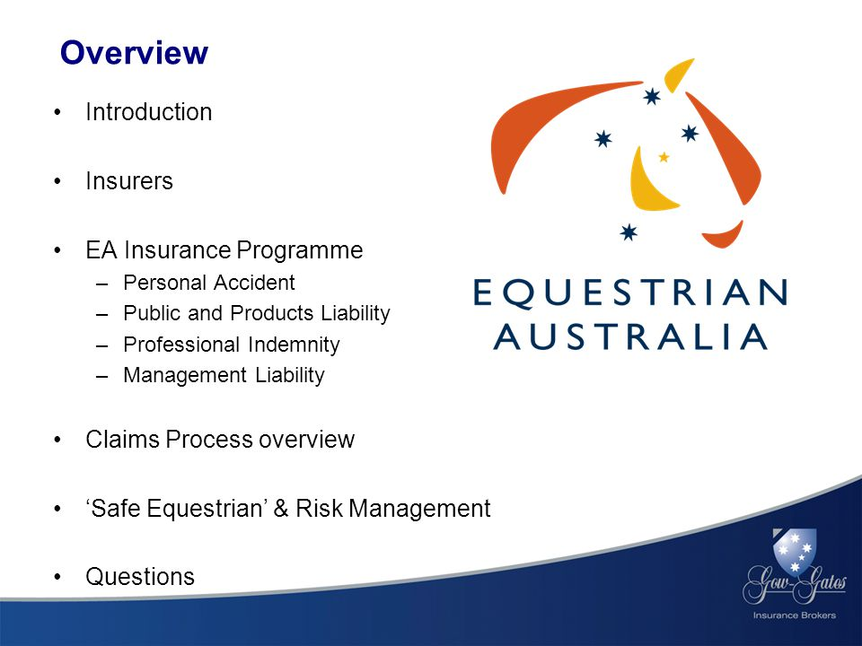 Overview Introduction Insurers EA Insurance Programme –Personal Accident –Public and Products Liability –Professional Indemnity –Management Liability Claims Process overview 'Safe Equestrian' & Risk Management Questions