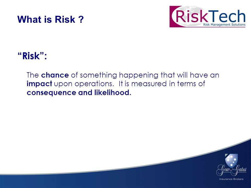 Risk : The chance of something happening that will have an impact upon operations.