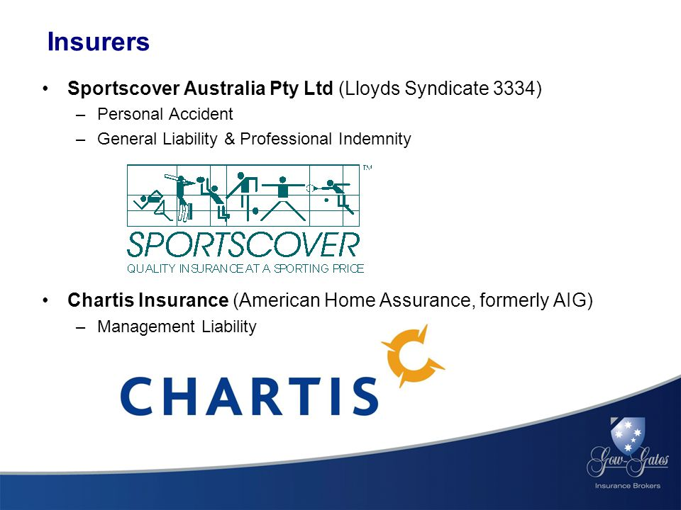Insurers Sportscover Australia Pty Ltd (Lloyds Syndicate 3334) –Personal Accident –General Liability & Professional Indemnity Chartis Insurance (American Home Assurance, formerly AIG) –Management Liability