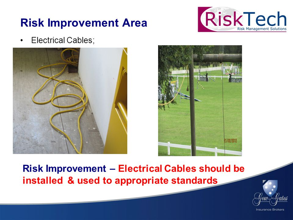 Electrical Cables; Risk Improvement Area Risk Improvement – Electrical Cables should be installed & used to appropriate standards