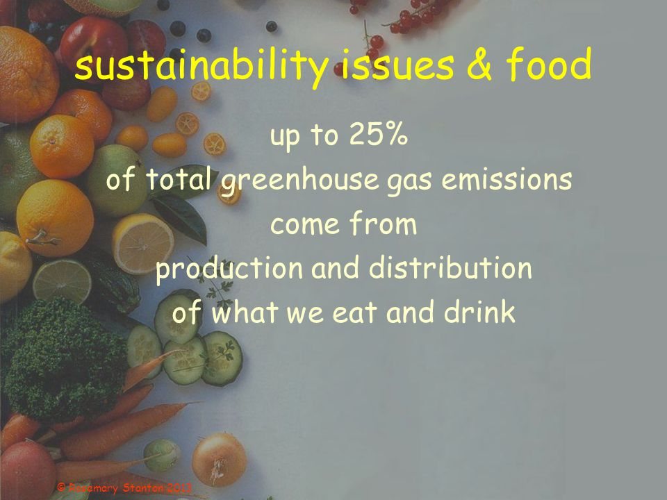 sustainability issues & food up to 25% of total greenhouse gas emissions come from production and distribution of what we eat and drink © Rosemary Stanton 2013