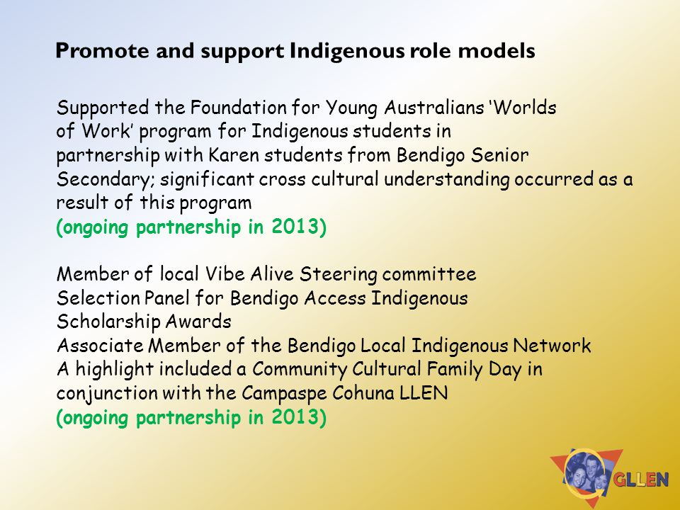 Promote and support Indigenous role models Supported the Foundation for Young Australians 'Worlds of Work' program for Indigenous students in partnership with Karen students from Bendigo Senior Secondary; significant cross cultural understanding occurred as a result of this program (ongoing partnership in 2013) Member of local Vibe Alive Steering committee Selection Panel for Bendigo Access Indigenous Scholarship Awards Associate Member of the Bendigo Local Indigenous Network A highlight included a Community Cultural Family Day in conjunction with the Campaspe Cohuna LLEN (ongoing partnership in 2013)