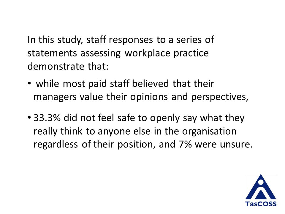 In this study, staff responses to a series of statements assessing workplace practice demonstrate that: while most paid staff believed that their managers value their opinions and perspectives, 33.3% did not feel safe to openly say what they really think to anyone else in the organisation regardless of their position, and 7% were unsure.