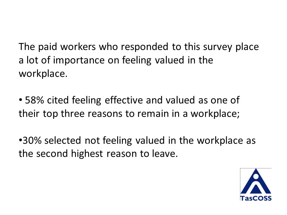 The paid workers who responded to this survey place a lot of importance on feeling valued in the workplace.