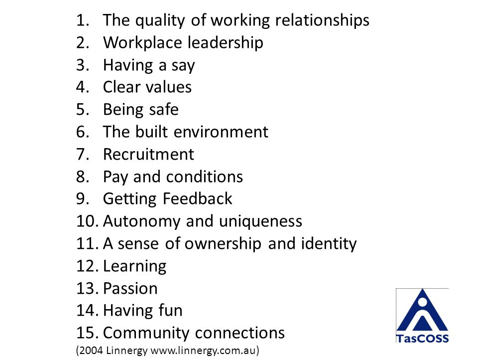 1.The quality of working relationships 2.Workplace leadership 3.Having a say 4.Clear values 5.Being safe 6.The built environment 7.Recruitment 8.Pay and conditions 9.Getting Feedback 10.Autonomy and uniqueness 11.A sense of ownership and identity 12.Learning 13.Passion 14.Having fun 15.Community connections (2004 Linnergy www.linnergy.com.au)