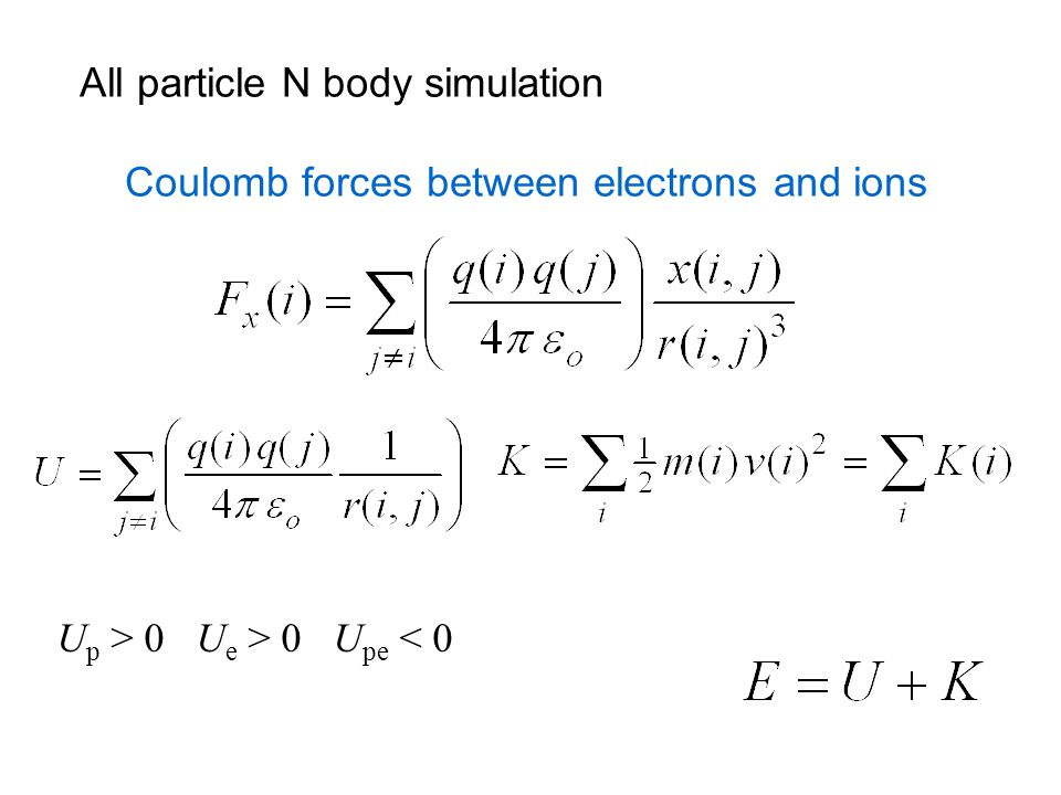 All particle N body simulation Coulomb forces between electrons and ions U p > 0 U e > 0 U pe < 0