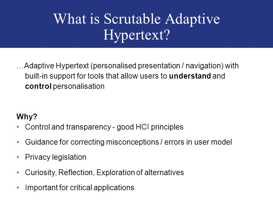 What is Scrutable Adaptive Hypertext.