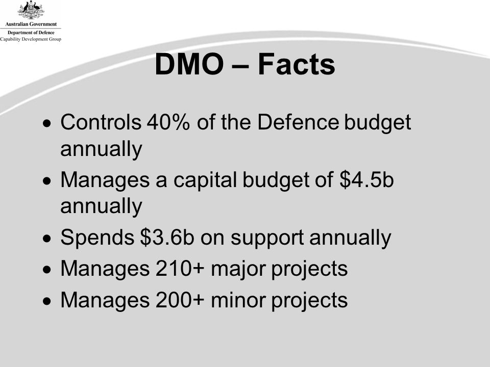 DMO – Facts  Controls 40% of the Defence budget annually  Manages a capital budget of $4.5b annually  Spends $3.6b on support annually  Manages 210+ major projects  Manages 200+ minor projects