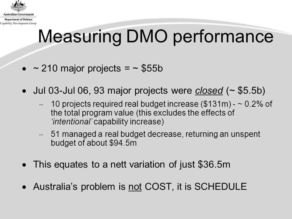 Measuring DMO performance  ~ 210 major projects = ~ $55b  Jul 03-Jul 06, 93 major projects were closed (~ $5.5b)  10 projects required real budget increase ($131m) - ~ 0.2% of the total program value (this excludes the effects of 'intentional' capability increase)  51 managed a real budget decrease, returning an unspent budget of about $94.5m  This equates to a nett variation of just $36.5m  Australia's problem is not COST, it is SCHEDULE