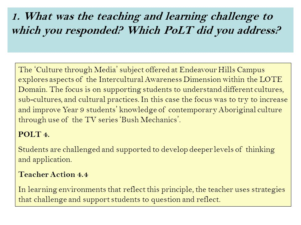 1. What was the teaching and learning challenge to which you responded.