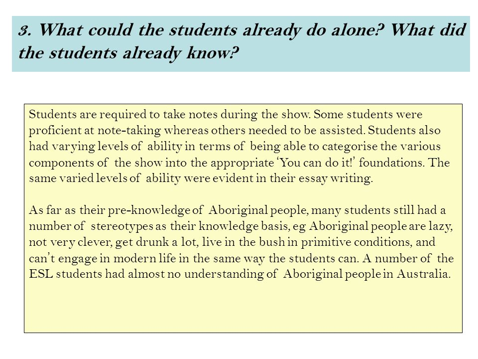 3. What could the students already do alone. What did the students already know.