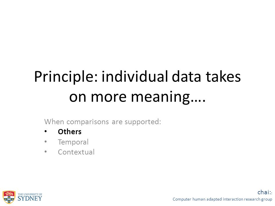 chai: : Computer human adapted interaction research group Principle: individual data takes on more meaning….