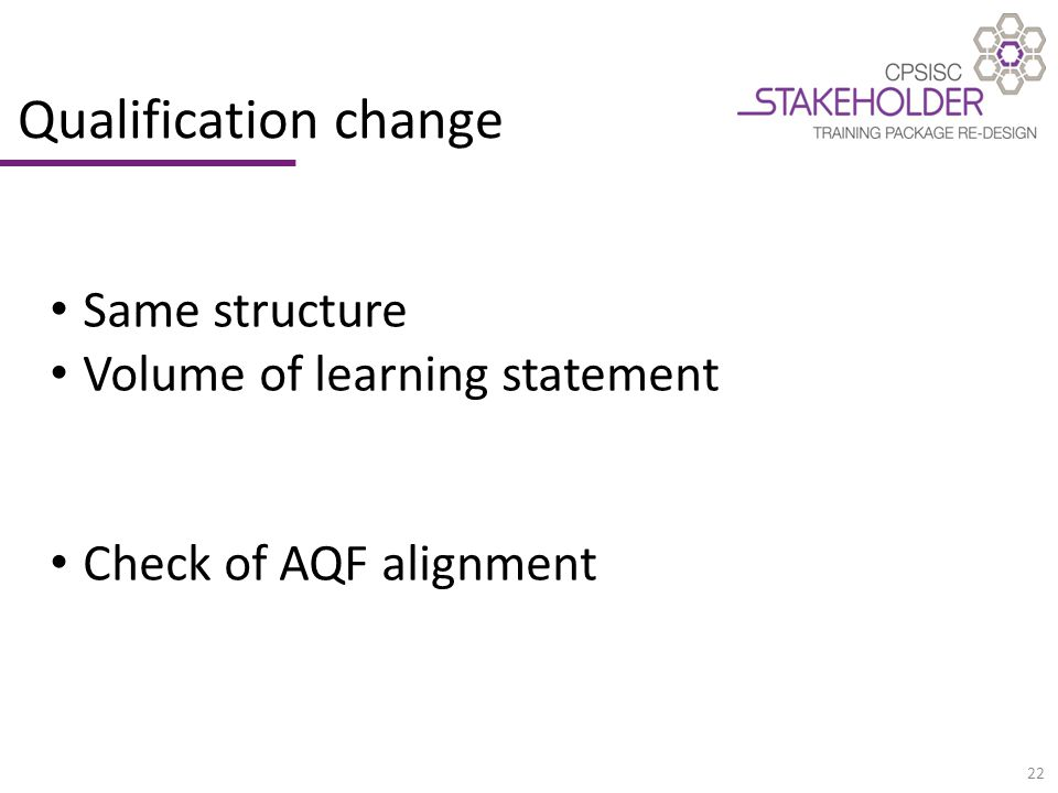 22 Qualification change Same structure Volume of learning statement Check of AQF alignment