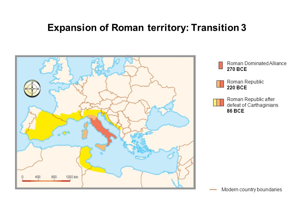 Expansion of Roman territory: Transition 3 Roman Dominated Alliance 270 BCE Modern country boundaries Roman Republic 220 BCE Roman Republic after defeat of Carthaginians 86 BCE