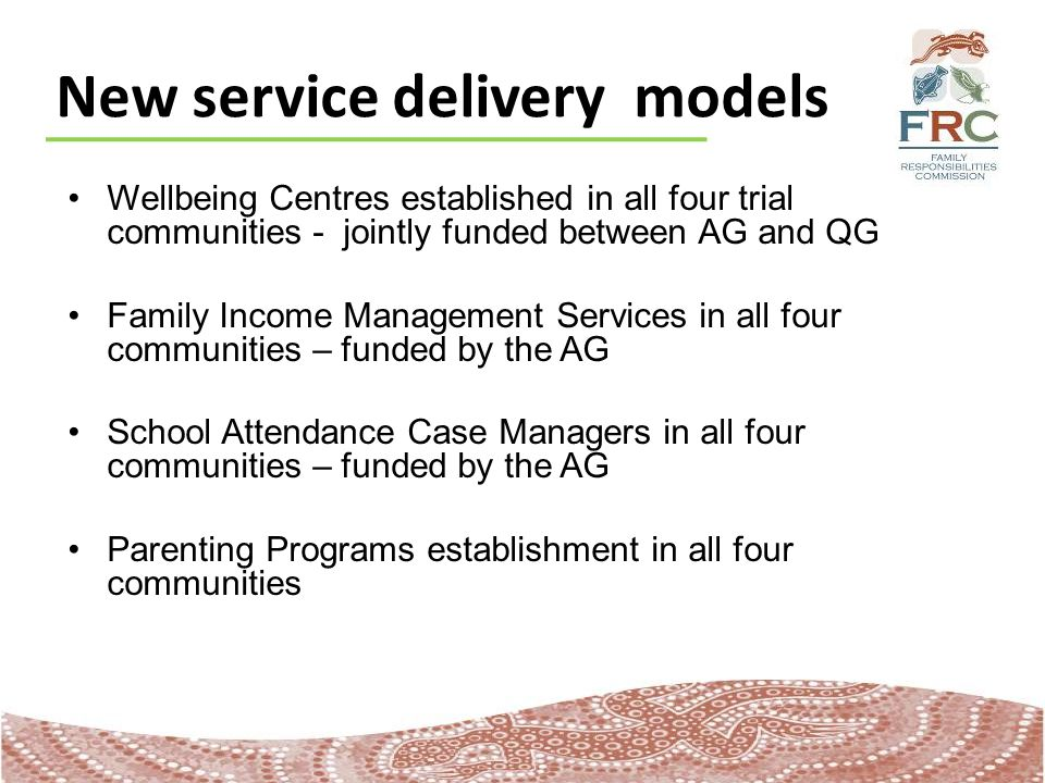 New service delivery models Wellbeing Centres established in all four trial communities - jointly funded between AG and QG Family Income Management Services in all four communities – funded by the AG School Attendance Case Managers in all four communities – funded by the AG Parenting Programs establishment in all four communities