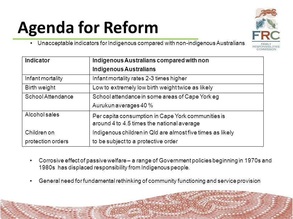 Agenda for Reform Unacceptable indicators for Indigenous compared with non-indigenous Australians Corrosive effect of passive welfare – a range of Government policies beginning in 1970s and 1980s has displaced responsibility from Indigenous people.
