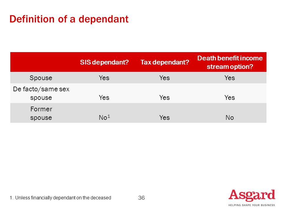 36 SIS dependant Tax dependant. Death benefit income stream option.