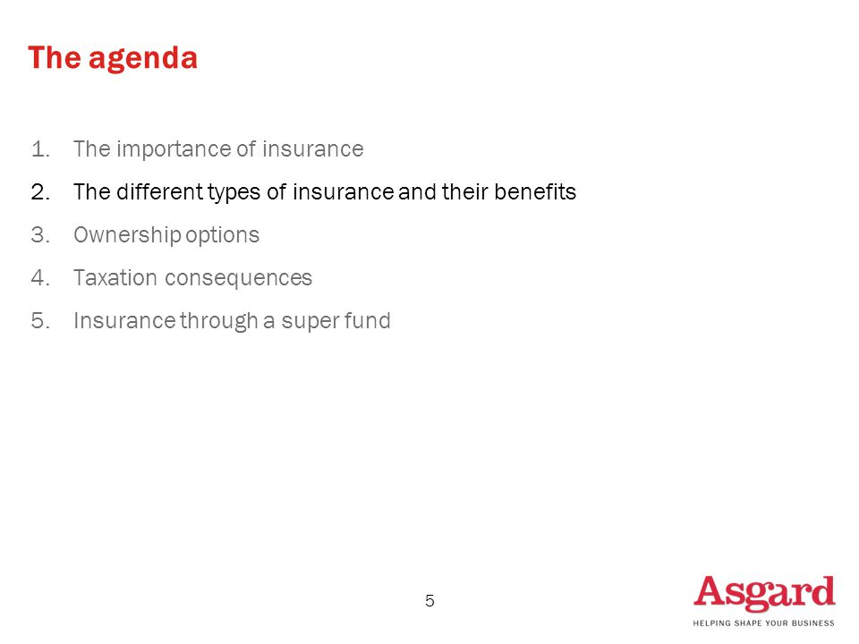 5 The agenda 1.The importance of insurance 2.The different types of insurance and their benefits 3.Ownership options 4.Taxation consequences 5.Insurance through a super fund