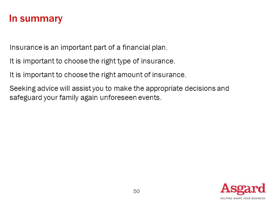 50 In summary Insurance is an important part of a financial plan.