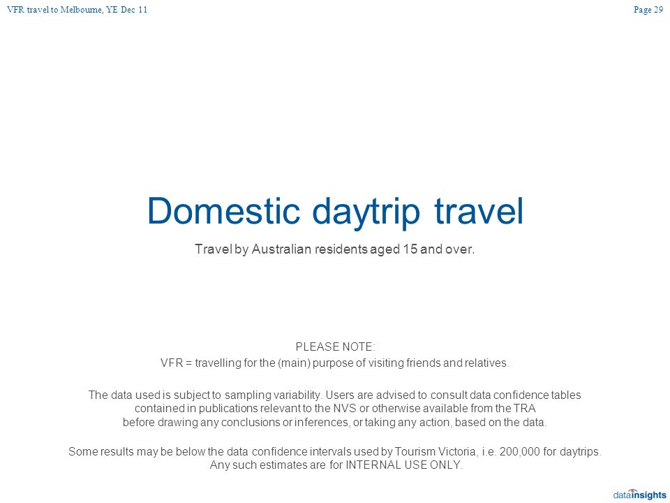 Domestic daytrip travel Travel by Australian residents aged 15 and over.