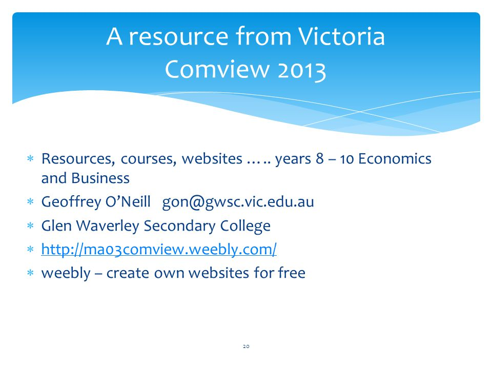  Resources, courses, websites …..