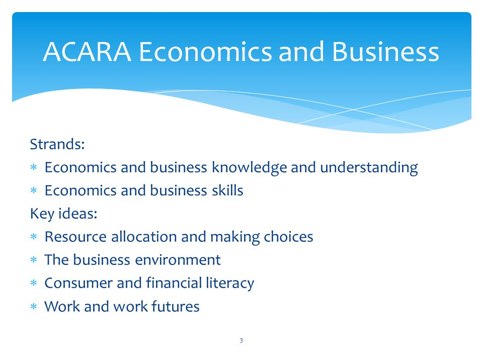 Strands:  Economics and business knowledge and understanding  Economics and business skills Key ideas:  Resource allocation and making choices  The business environment  Consumer and financial literacy  Work and work futures ACARA Economics and Business 3