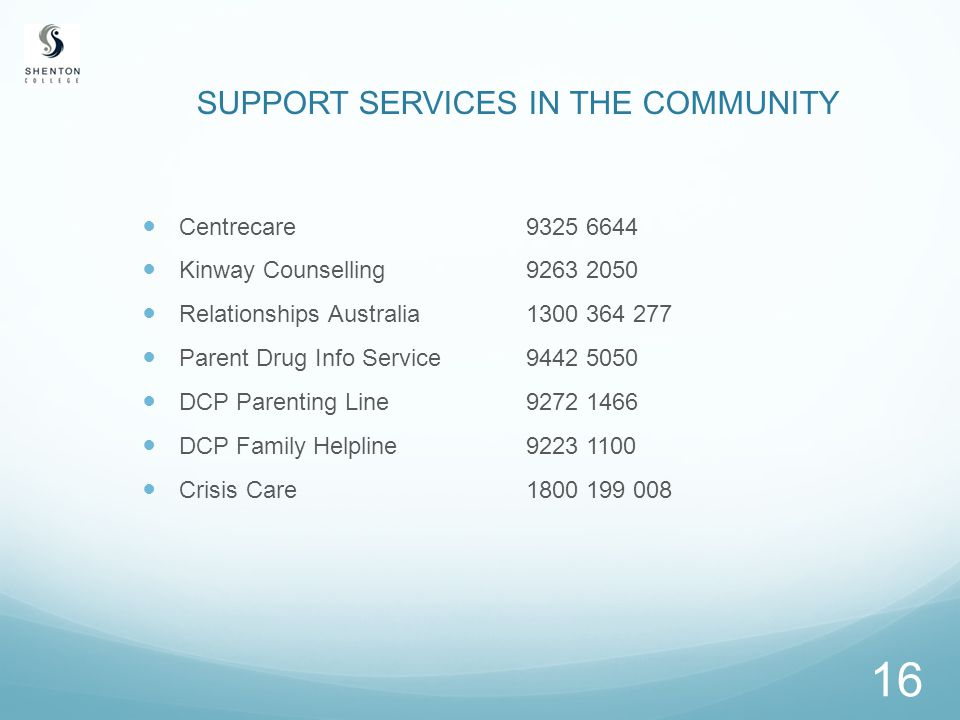 16 SUPPORT SERVICES IN THE COMMUNITY Centrecare9325 6644 Kinway Counselling9263 2050 Relationships Australia1300 364 277 Parent Drug Info Service 9442 5050 DCP Parenting Line9272 1466 DCP Family Helpline9223 1100 Crisis Care1800 199 008