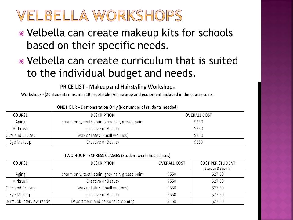  Velbella can create makeup kits for schools based on their specific needs.