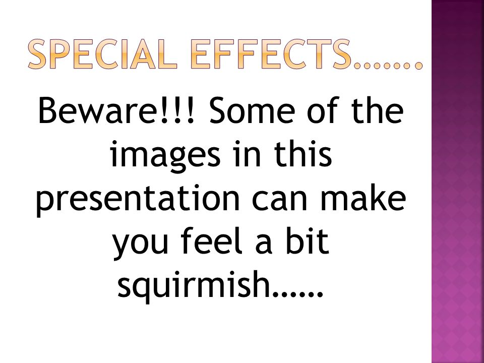 Beware!!! Some of the images in this presentation can make you feel a bit squirmish……