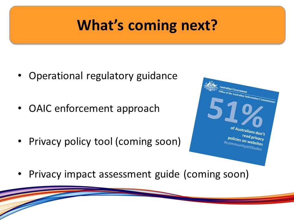 Ex Operational regulatory guidance OAIC enforcement approach Privacy policy tool (coming soon) Privacy impact assessment guide (coming soon) What's coming next