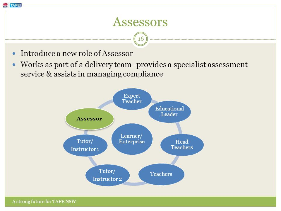 Assessors A strong future for TAFE NSW Introduce a new role of Assessor Works as part of a delivery team- provides a specialist assessment service & assists in managing compliance Learner/ Enterprise Expert Teacher Educational Leader Head Teachers Teachers Tutor/ Instructor 2 Tutor/ Instructor 1 Assessor 16