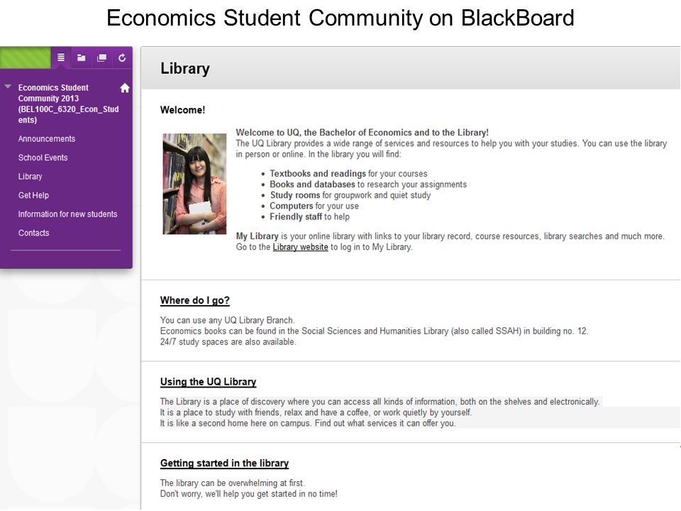 Name of presentation Month 2009 Economics Student Community on BlackBoard