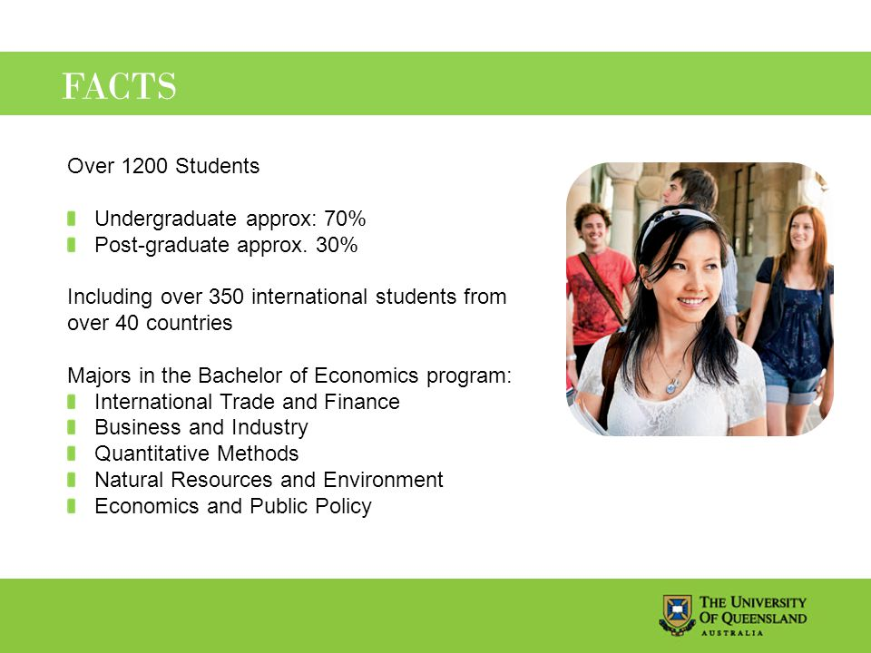 FACTS Over 1200 Students Undergraduate approx: 70% Post-graduate approx.