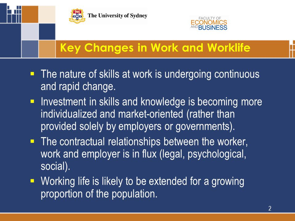 Key Changes in Work and Worklife  The nature of skills at work is undergoing continuous and rapid change.