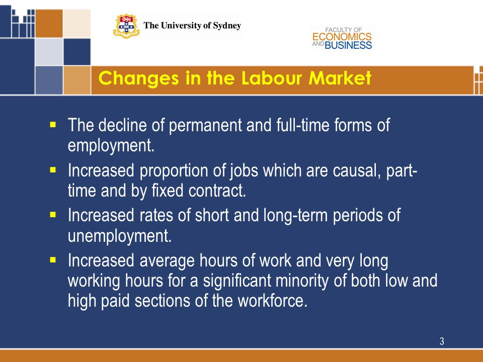 Changes in the Labour Market  The decline of permanent and full-time forms of employment.