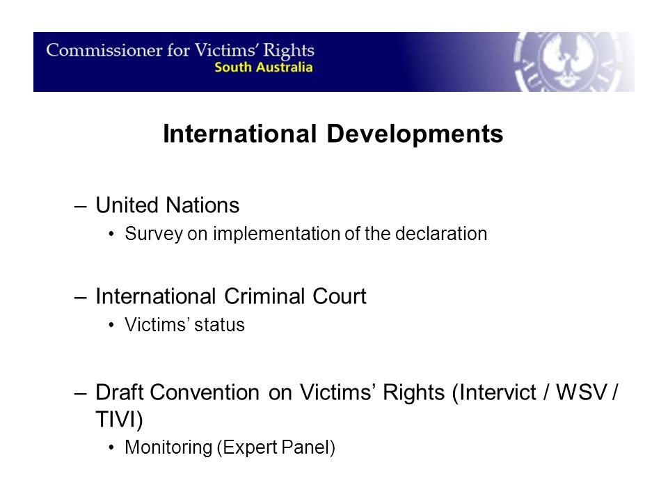 International Developments –United Nations Survey on implementation of the declaration –International Criminal Court Victims' status –Draft Convention on Victims' Rights (Intervict / WSV / TIVI) Monitoring (Expert Panel)