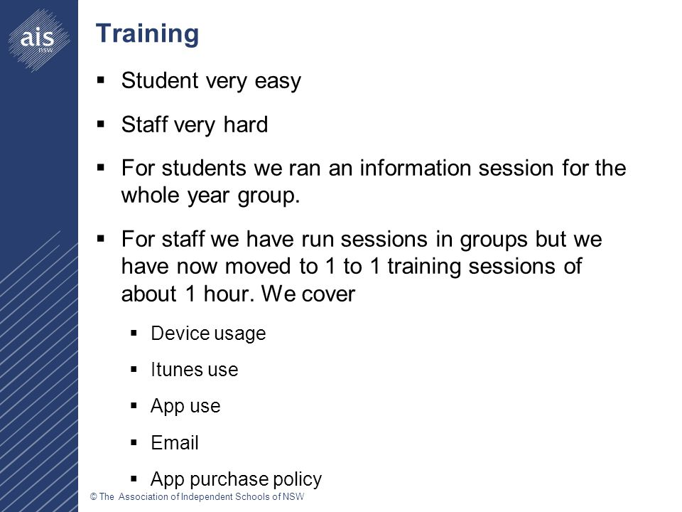 © The Association of Independent Schools of NSW Training  Student very easy  Staff very hard  For students we ran an information session for the whole year group.