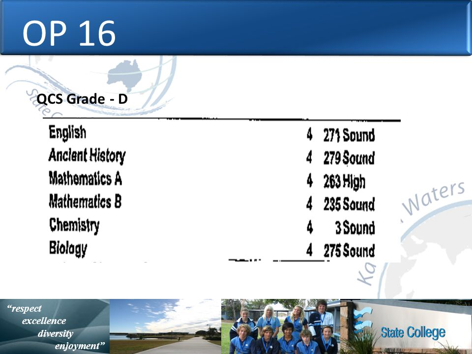 with purpose and spirit Statistically Speaking respect excellence diversity enjoyment OP 16 QCS Grade - D