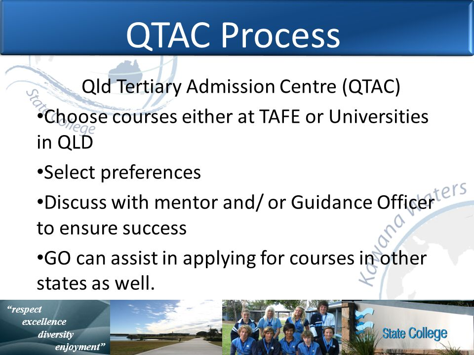 with purpose and spirit Statistically Speaking respect excellence diversity enjoyment QTAC Process Qld Tertiary Admission Centre (QTAC) Choose courses either at TAFE or Universities in QLD Select preferences Discuss with mentor and/ or Guidance Officer to ensure success GO can assist in applying for courses in other states as well.