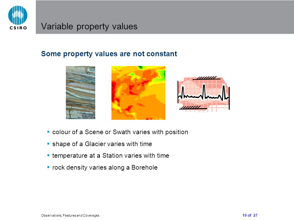 19 of 27 Observations, Features and Coverages Variable property values Some property values are not constant  colour of a Scene or Swath varies with position  shape of a Glacier varies with time  temperature at a Station varies with time  rock density varies along a Borehole