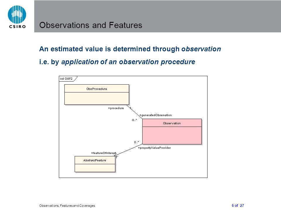 6 of 27 Observations, Features and Coverages Observations and Features An estimated value is determined through observation i.e.