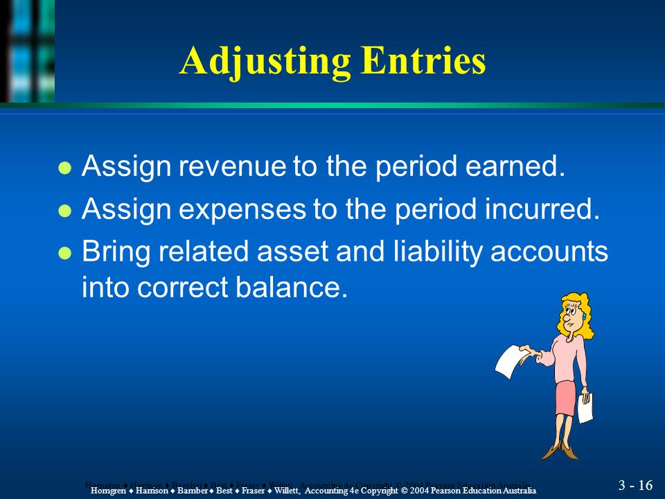 3 - 15 Horngren ♦ Harrison ♦ Bamber ♦ Best ♦ Fraser ♦ Willett, Accounting 4e Copyright © 2004 Pearson Education Australia Make adjusting entries at the end of the accounting period.