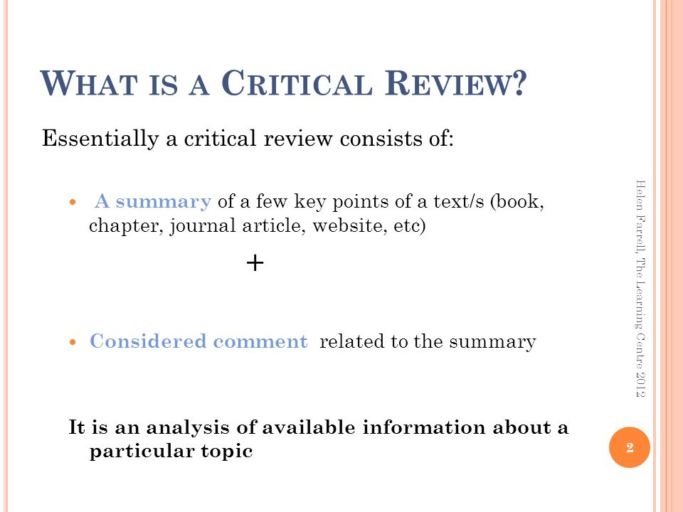 example of a critical review of a journal article
