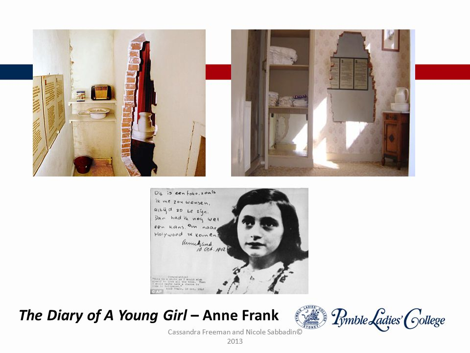 Cassandra Freeman and Nicole Sabbadin© 2013 The Diary of A Young Girl – Anne Frank
