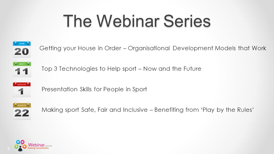 The Webinar Series Top 3 Technologies to Help sport – Now and the Future Getting your House in Order – Organisational Development Models that Work Presentation Skills for People in Sport Making sport Safe, Fair and Inclusive – Benefiting from 'Play by the Rules' 3