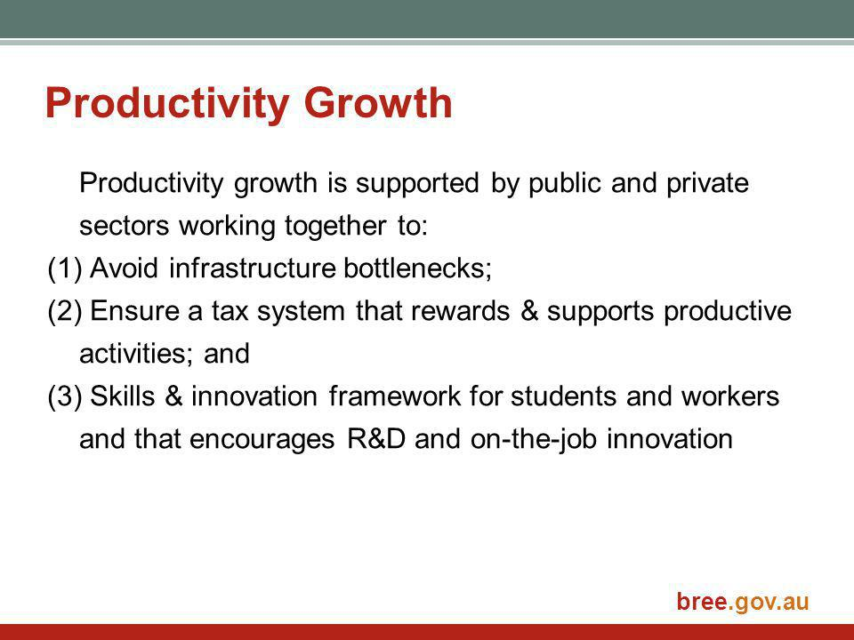 bree.gov.au Productivity Growth Productivity growth is supported by public and private sectors working together to: (1) Avoid infrastructure bottlenecks; (2) Ensure a tax system that rewards & supports productive activities; and (3) Skills & innovation framework for students and workers and that encourages R&D and on-the-job innovation