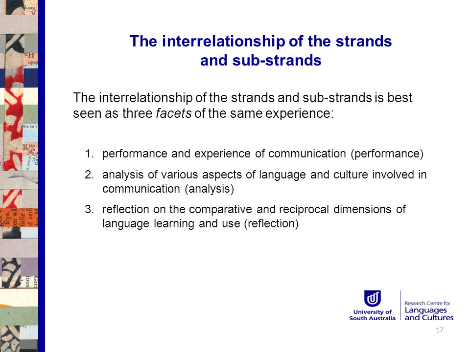 The interrelationship of the strands and sub-strands The interrelationship of the strands and sub-strands is best seen as three facets of the same experience: 1.performance and experience of communication (performance) 2.analysis of various aspects of language and culture involved in communication (analysis) 3.reflection on the comparative and reciprocal dimensions of language learning and use (reflection) 17