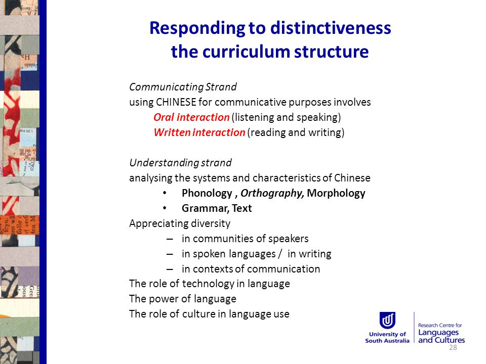 Responding to distinctiveness the curriculum structure Communicating Strand using CHINESE for communicative purposes involves Oral interaction (listening and speaking) Written interaction (reading and writing) Understanding strand analysing the systems and characteristics of Chinese Phonology, Orthography, Morphology Grammar, Text Appreciating diversity – in communities of speakers – in spoken languages / in writing – in contexts of communication The role of technology in language The power of language The role of culture in language use 28