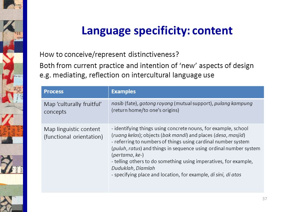 Language specificity: content 37 How to conceive/represent distinctiveness.